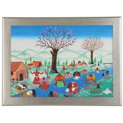 Italian Folk Art Painting of Women Washing Clothes in Stream, 1977