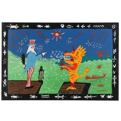 "AR Gately Folk Art Acrylic Painting ""Uncle Sam and the Dragon"""
