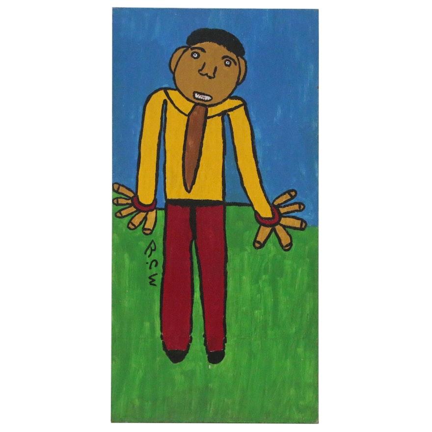 """Ruby C. Williams Folk Art Acrylic Painting """"Eugene"""""""