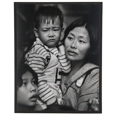 "William D. Wade Silver Gelatin Print ""Madonna & Child Arrive at Airport"""