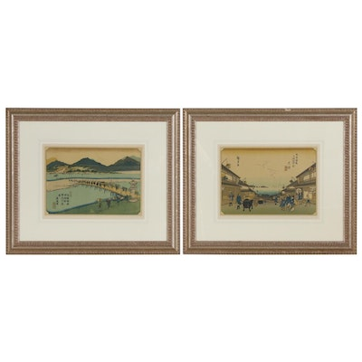Offset Lithographs after Hiroshige and Keisai Eisen Landscapes