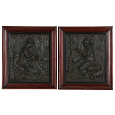 Composite Relief Panels of Women Spinning and Embroidering