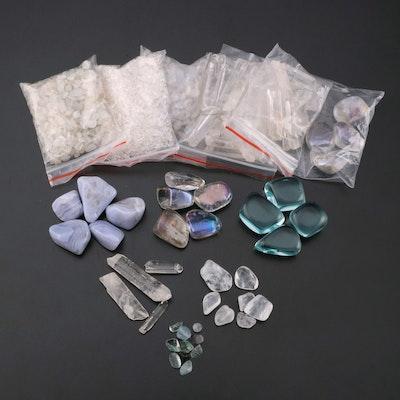 Blue Lace Agate, Quartz, Aqua Obsidian and Other Polished Mineral Specimens
