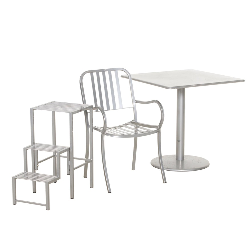 Emu for Smith & Hawken Bistro Table, Chair, and Plant Stand, Made in Italy