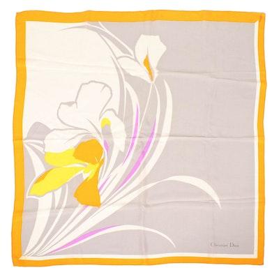 Christian Dior Silk Scarf in Iris Motif