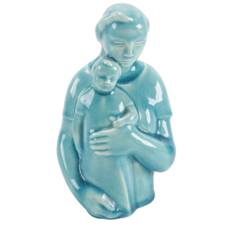 """Rookwood Pottery """"Mother and Child"""" Glazed Earthenware Figurine, 1943"""