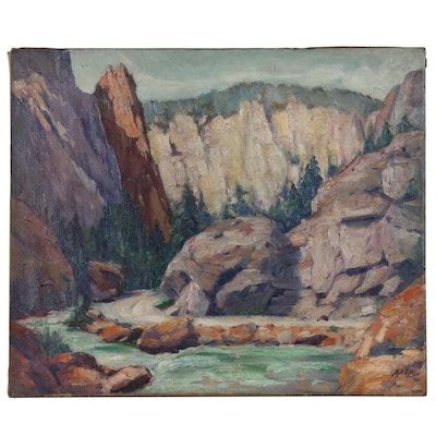 "Matthew Daly Landscape Oil Painting ""Big Thompson's Canyon, Colorado"""