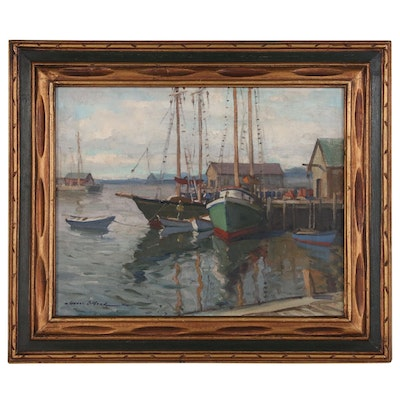 """Gianni Cilfone Oil Painting """"Gloucester Harbor"""""""