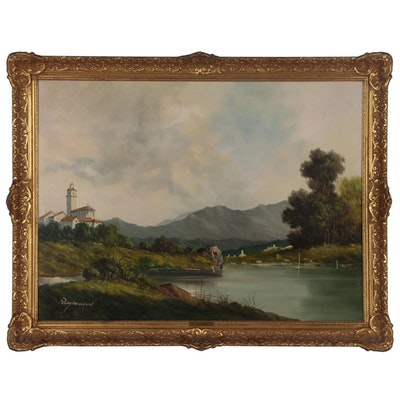 Landscape Oil Painting of Mountain Lake Scene