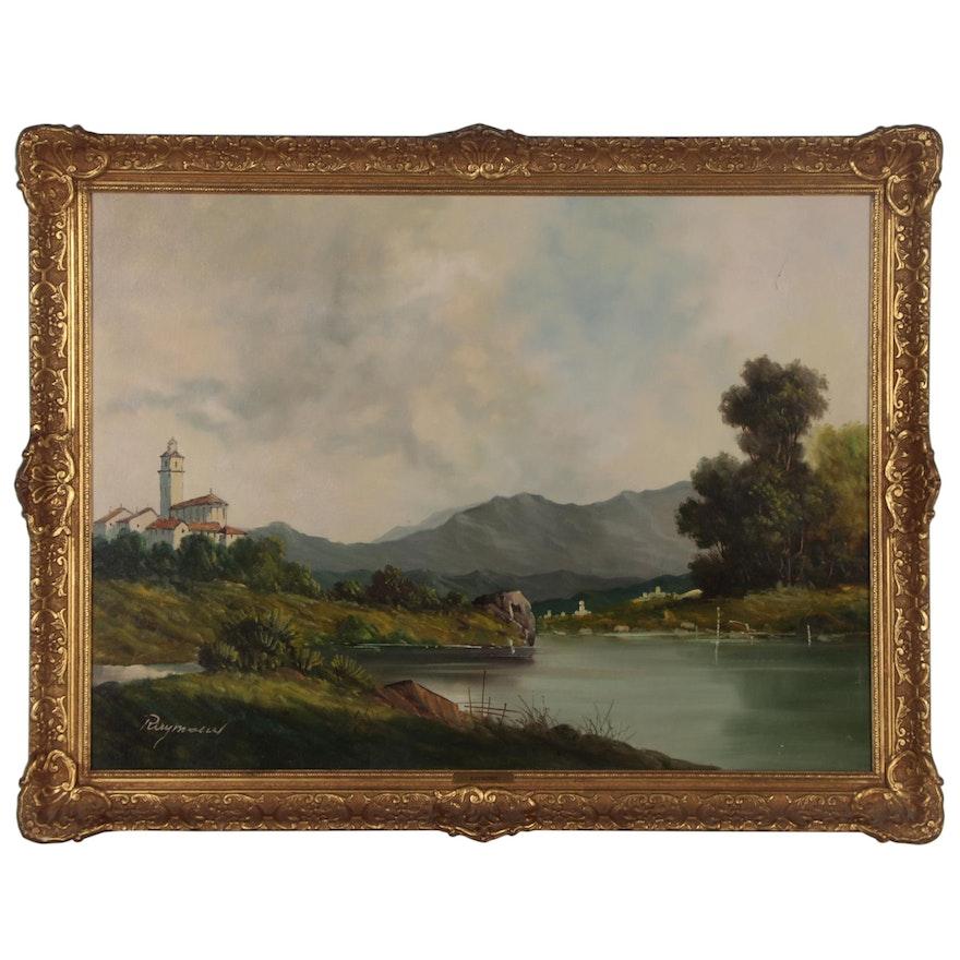 Landscape Oil Painting of Mountain Lake Scene