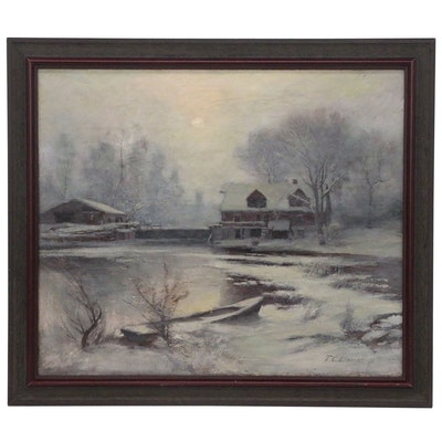 Thomas Corwin Lindsay Oil Painting of Winter Scene