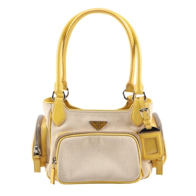 Prada Shoulder Bag in Canapa Canvas and Yellow Cinghial Leather