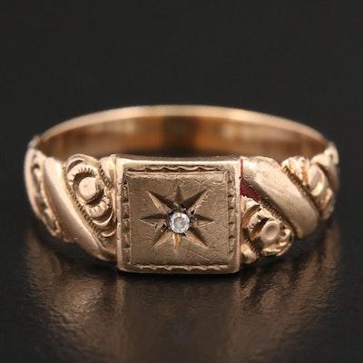 Victorian 10K Yellow Gold Diamond Ring