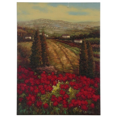 "Landscape Oil Painting ""Crimson Fields"""