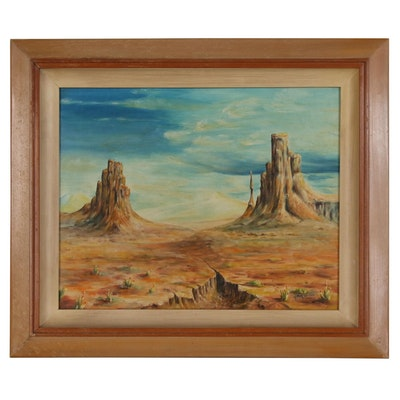 Monument Valley Landscape Oil Painting, Mid to Late 20th Century