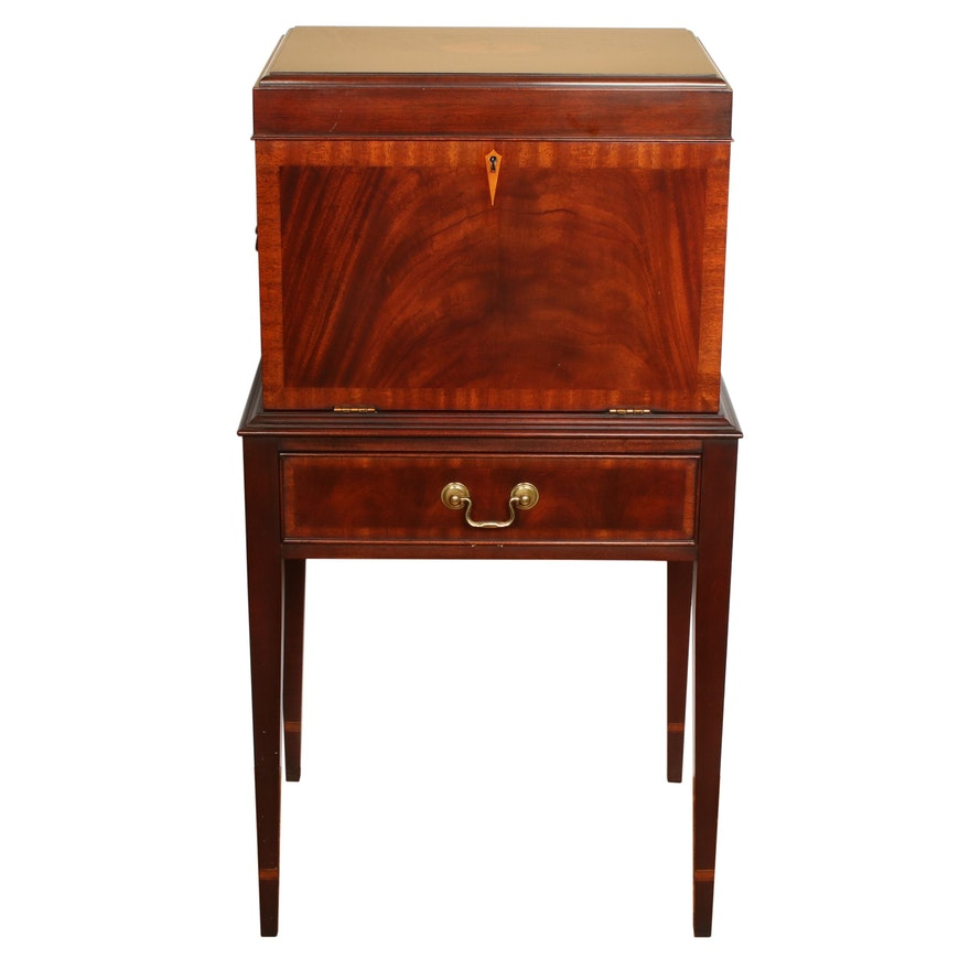 Henkel-Harris Federal Style Inlaid Mahogany Standing Silver Chest
