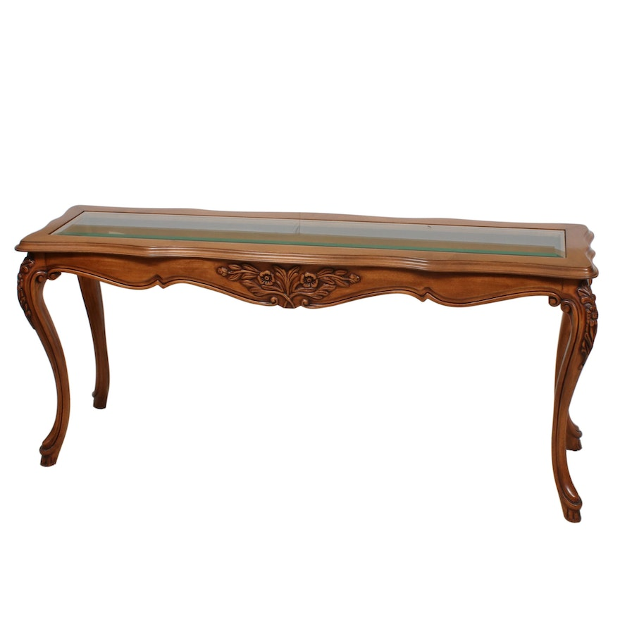 French Provincial Style Glass-Top Console Table, Late 20th Century
