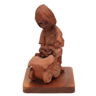 Ann Entis Clay Sculpture of Girl Pushing Dog in Stroller