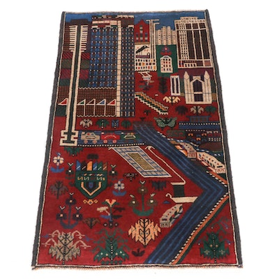 2'10 x 4'9 Hand-Knotted Afghani Baluch Pictorial Rug, 2000s
