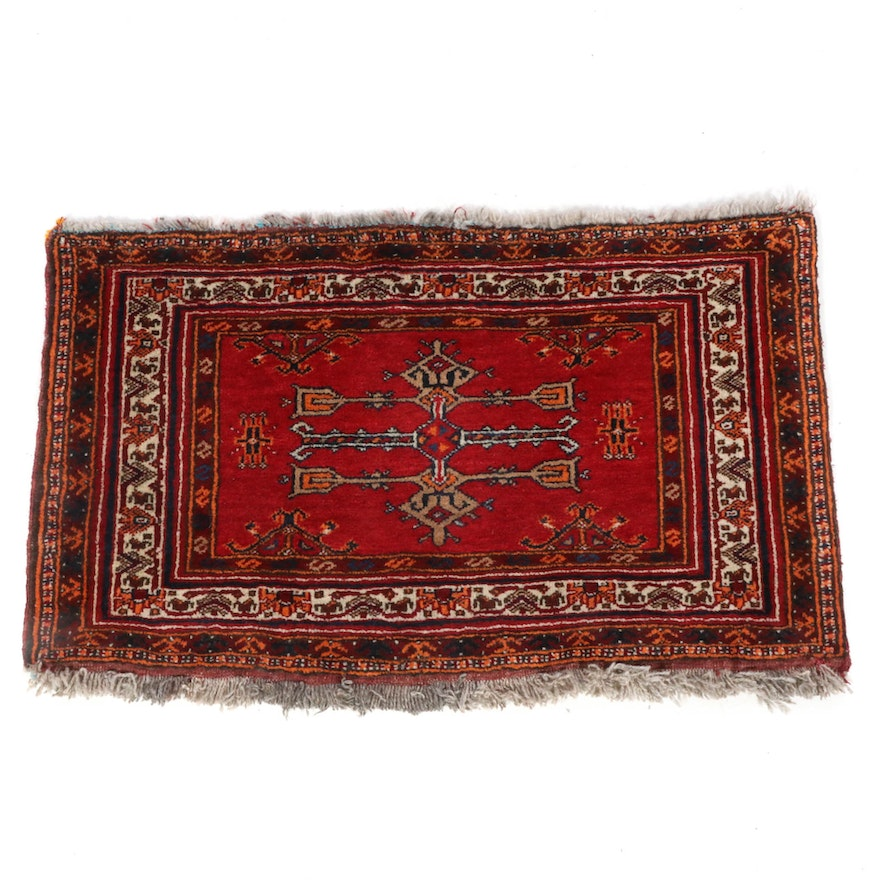 1'11 x 2'11 Hand-Knotted Persian Turkoman Rug, 1930s