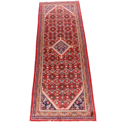 3'8 x 10'4 Hand-Knotted Persian Mahal Wide Runner Rug, 1970s