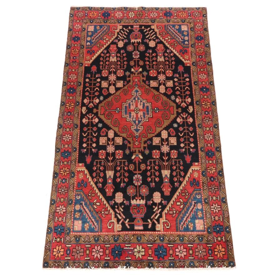 4'3 x 7'8 Hand-Knotted Persian Zanjan Rug, 1970s