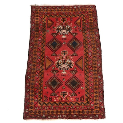 3'6 x 6'1 Hand-Knotted Persian Baluch Rug, 1920s