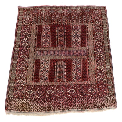 4'6 x 5'3 Hand-Knotted Persian Turkoman Rug, 1920s