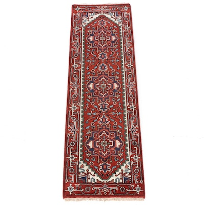 2'7 x 8'2 Hand-Knotted Indo-Persian Heriz Runner Rug, 2010s