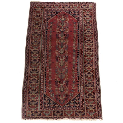 3'4 x 5'9 Hand-Knotted Turkish Oushak Rug, 1920s