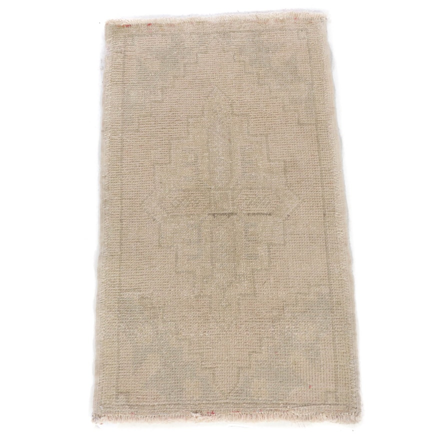 1'9 x 3'1 Hand-Knotted Turkish Oushak Rug, 1930s