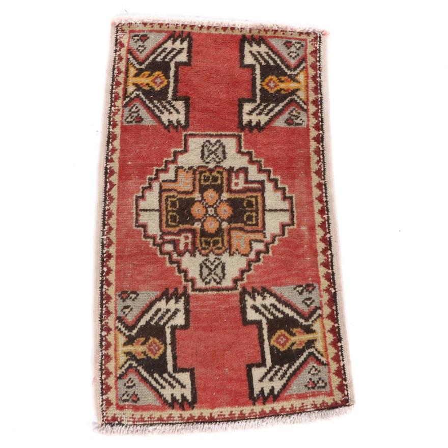 1'8 x 2'11 Hand-Knotted Turkish Village Rug, 1930s