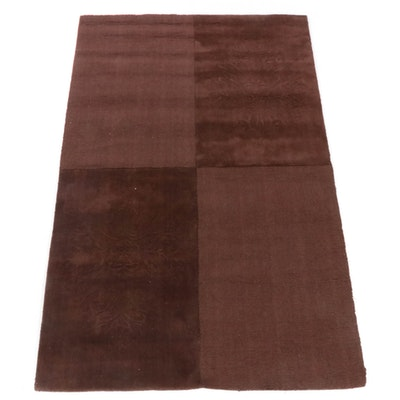 5'0 x 7'11 Hand-Tufted Indian Carved Rug, 2000s