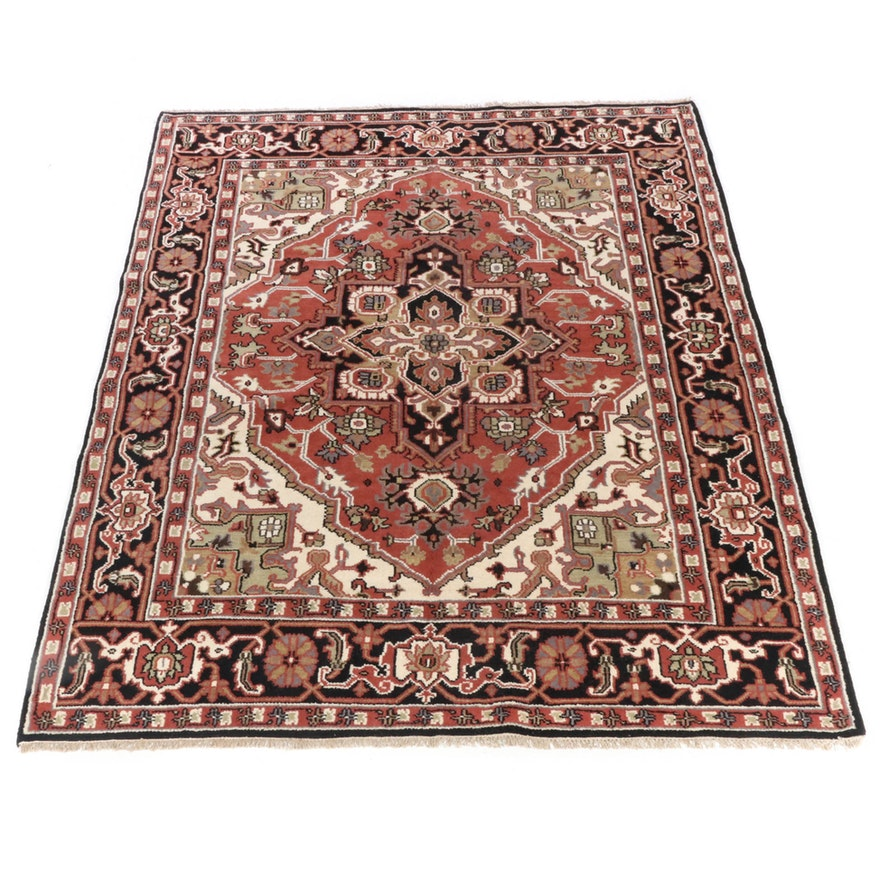 8'0 x 10'2 Hand-Knotted Indo-Persian Heriz Room Sized Rug, 2010s