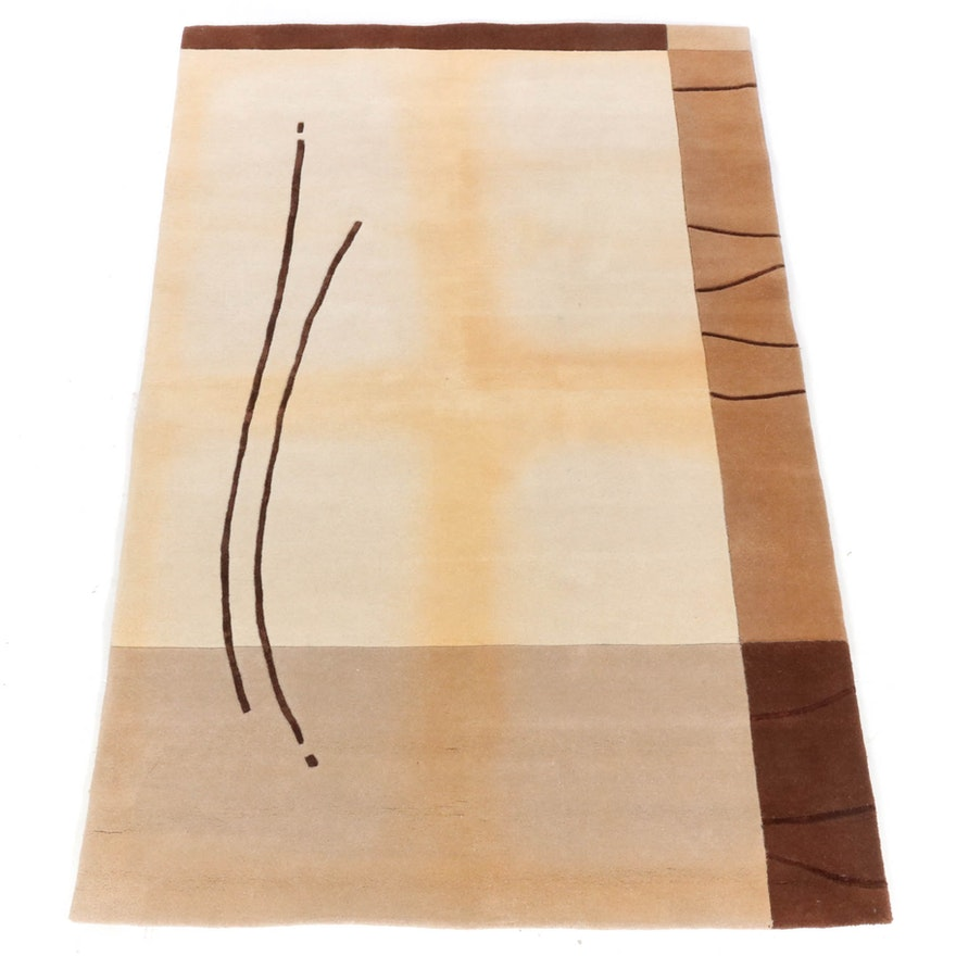5'1 x 7'10 Hand-Tufted Indian Mid Century Modern Style Rug, 2000s