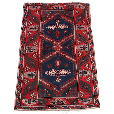 3'9 x 5'11 Hand-Knotted Turkish Village Rug, 1930s