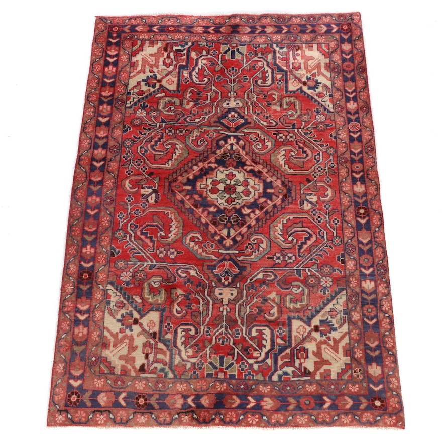4'4 x 6'7 Hand-Knotted Persian Malayer Rug, 1970s