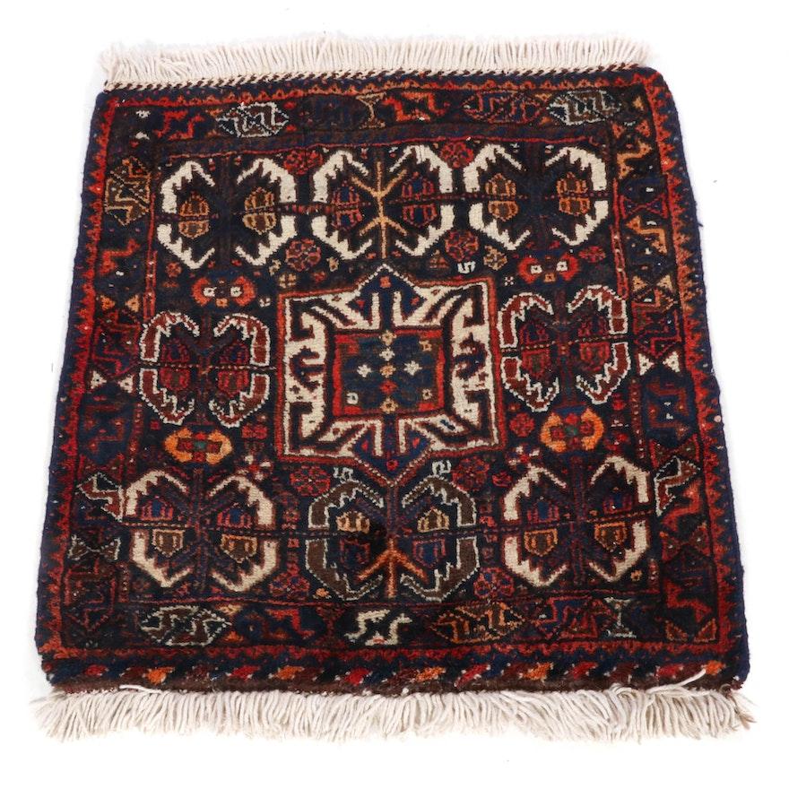 2'5 x 2'7 Hand-Knotted Persian Kurdish Rug, 1950s