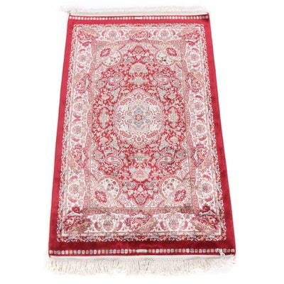 2'6 x 4'7 Power-Loomed Turkish Artificial Silk Rug, 2010s