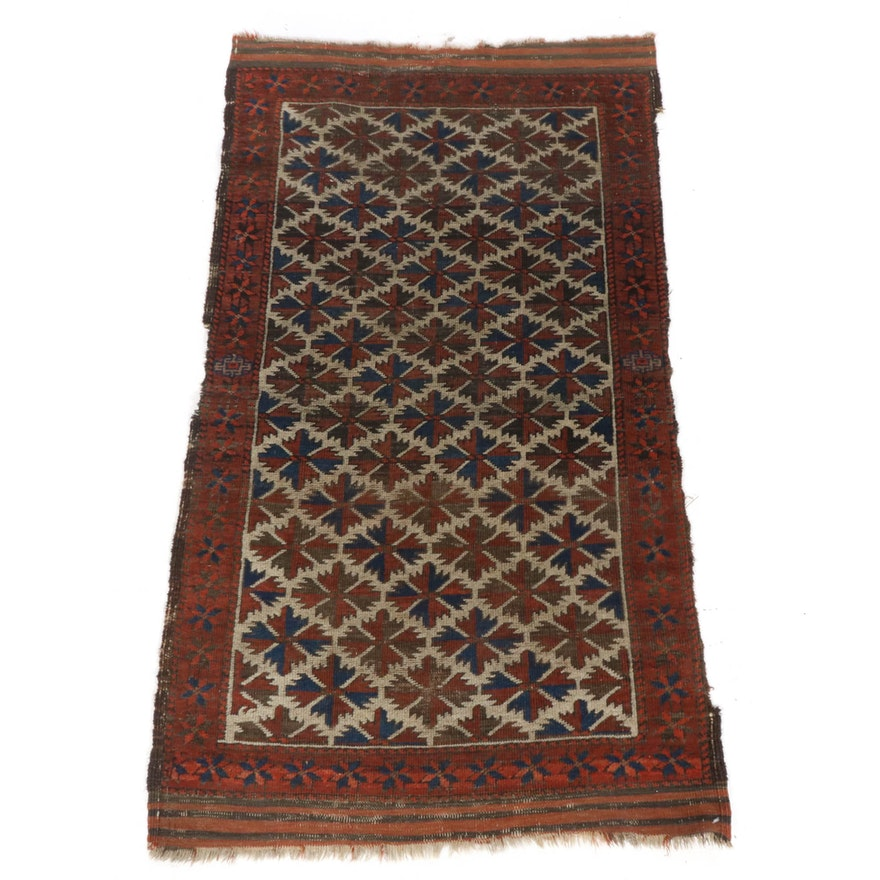 2'8 x 4'8 Hand-Knotted Persian Baluch Rug, 1920s
