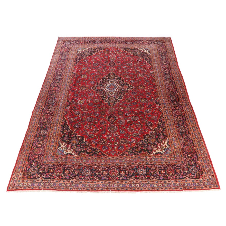 9'11 x 14'0 Hand-Knotted Persian Mashad Room Sized Rug, 1970s
