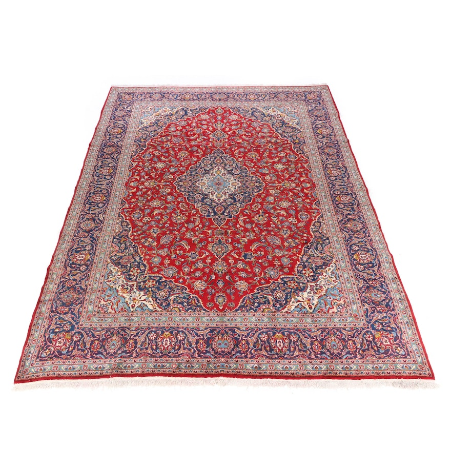 9'11 x 13'6 Hand-Knotted Persian Kashan Room Sized Rug, 1970s