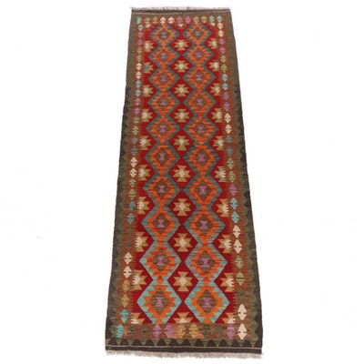 3'0 x 9'10 Handwoven Turkish Caucasian Kilim Runner Rug, 2010s