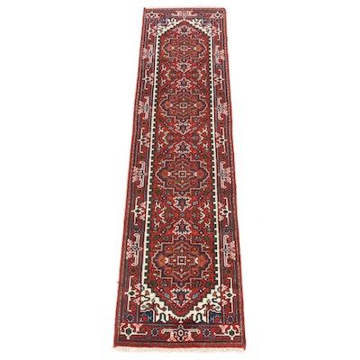 2'6 x 10'1 Hand-Knotted Indo-Persian Heriz Serapi Runner Rug, 2010s