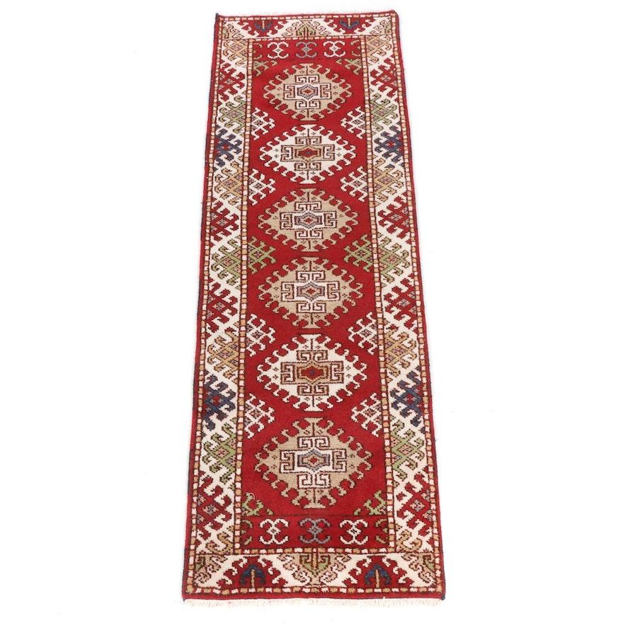 2'9 x 8'4 Hand-Knotted Indo-Caucasian Kazak Runner Rug, 2010s