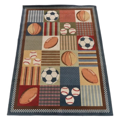 5'5 x 7'9 Hand-Tufted Sports Pictorial Rug, 2000s