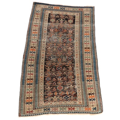 3'8 x 6'2 Hand-Knotted Caucasian Rug, 1890s