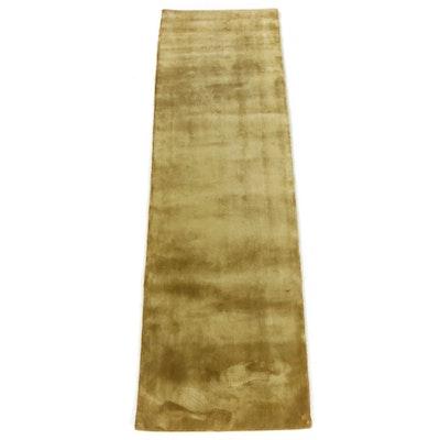 2'6 x 8'3 Power-Loomed Indian Bamboo Silk Runner Rug, 2010s