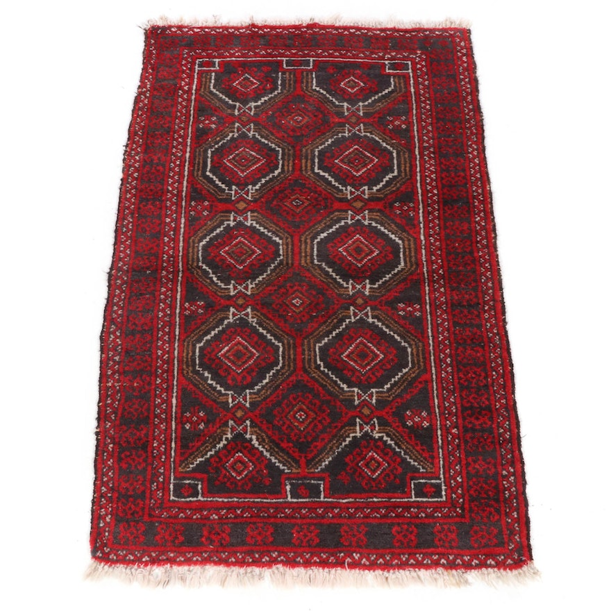 3'2 x 5'3 Hand-Knotted Persian Baluch Rug, 1920s