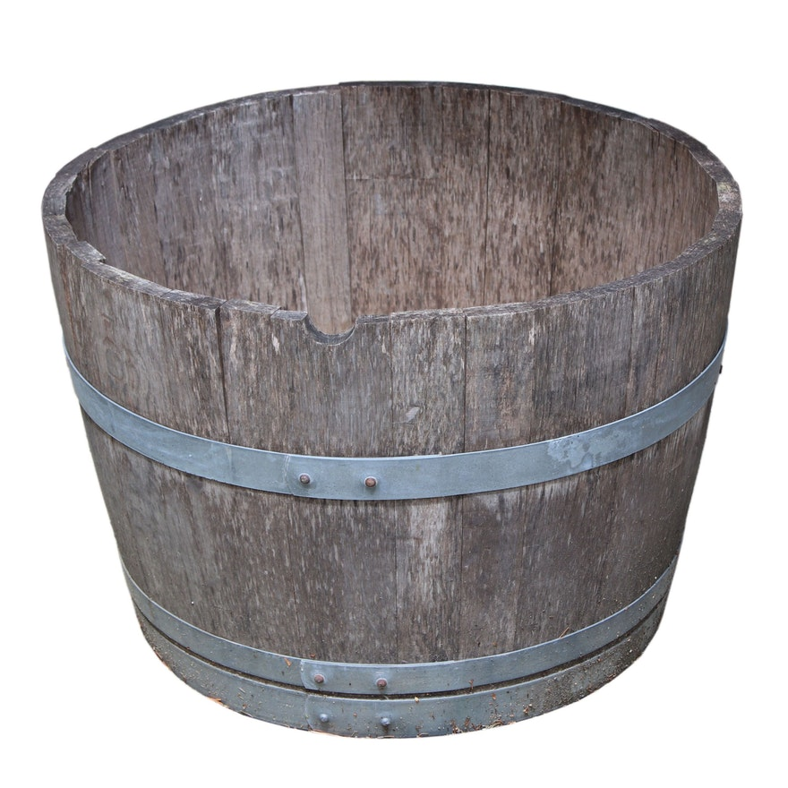 Napa Valley Oak Wine Barrel Outdoor Planter